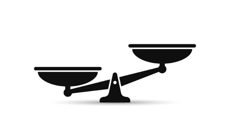 Waage im Ungleichgewicht